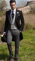 아침 스타일 신랑 들러리는 하나 개의 버튼 신랑 턱시도 피크 라펠 남자는 결혼식 들러리 신랑 재킷 정장 (재킷 + 바지 + 조끼 + 타이) L297