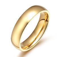 Einfache Persönlichkeit glatte Mode Titan Stahlring klassischen Ehering Männer und Frauen Modelle Gold Einzelhandel Großhandel