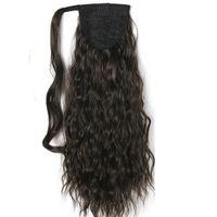 """120g Kinky Curly Ponytails 55CM, Clip de 22 """"en extension de cheveux en queue de cheval BlackBrown Curly Horsetail Pony Tail cheveux humains Postiches"""