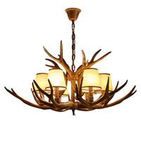 Résine de lustre à bois rétro + lampes en tissu 6Heads Villa Duplex bâtiment Salon Restaurant Vêtements Magasin Home Lighting PA0117