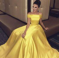 Elegante satén simple una línea de vestidos de baile por encargo hombro país largo vestido de fiesta formal piso vestido de baile de longitud