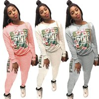 Love pink women tracksuit sweater with pants 2 piece sweatsu...