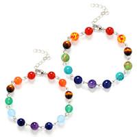 8mm 7 colori Chakela pietra naturale bracciali regolabili air-slake per le donne ragazza braccialetto accessori gioielli moda