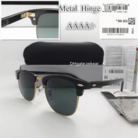 Klasik Cam Lens Erkek Kadın Güneş Gözlüğü UV400 Tahta Gözlük Metal Çerçeve Menteşe Daire Yuvarlak Eğilim Ile Vintage Gözlük Kutusu Kasa