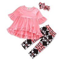 Baby Girls Clothes Casual Fashion Irregularity Pink Tops + P...