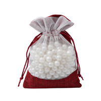Jute Jewelry Pouch Drawstring Window Clear Red Jute Burlap B...