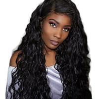 Remy-Menschenhaar-volle Spitze-Perücke-wellenförmige Wasser-Welle 180% Dichte 100% Hand gebundene Afroamerikaner-Perücke-natürlicher Haarstrich-Medium lange Frauen menschlich