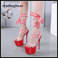 16cm red plaid PVC transparent ankle wrap ultra high heels p...