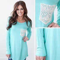 Womens Long Sleeve Shirt Casual Lace Pocket Blouse Loose Cot...