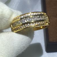 Мода мужской группа кольцо 3 мм Diamonique Циркон камень обручальное кольцо Кольцо для мужчин желтого золота заполнены ювелирные изделия
