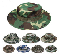 Baumwoll-Eimer-Hut für Männer Mode Military Camouflage Camo Fischer-Hüte mit breitem Rand Sun Fishing Eimer Hut Camping Jagdhut