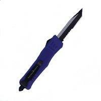 الأرجواني 7 بوصة 616 مصغرة التلقائي التكتيكية سكين 440C أسود + سلك رسم شفرة الزنك سبائك الألومنيوم مقبض سكاكين جيب edc