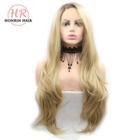 Honrin Hair Ombre Blonde Wigs Brown Synthetic Lace Front Wig...