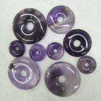 10 teile / los 20mm 30mm 40mm Natürliche Amethyst Stein Perlen Donuts Form Lose Perlen Für Schmuck Machen Ring Kreis Perlen anhänger