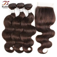 Color 2 Dark Brown Body Wave Hair Bundles with Closure Brazi...