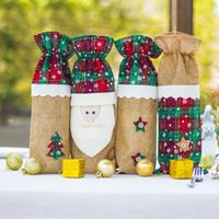 14x35cm Burlap Natur Jute Beutel Schmuckbeutel Weihnachten Neujahr Party Favors Geschenke Verpackung Sack Taschen Weihnachtsmann-Muster-Beutel