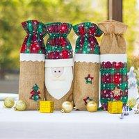 14x35cm Leinwand Natur Jute Kordelzug Schmuck Beutel Weihnachten Neujahr Party Favors Geschenke Verpackung Sack Taschen Santa Claus Muster Pouch Punk