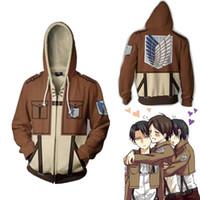 Taille asiatique Japon Anime Attaque sur Titan Shingeki No Kyojin Cosplay 3D Costume Manteau de baseball Veste à glissière Unisexe Sweat à capuche
