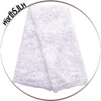 Branco nupcial Lace Tecidos para africanos Partes bordado Guipure Lace Fabric Peach Tecido Lace Africano 2018 Alta Qualidade