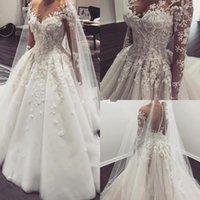 2018 Illusion vestidos de novia de manga larga con cuello en V de encaje apliques botón Arabia Saudita vestido de novia Berta vestido nupcial Vestido De Noiva