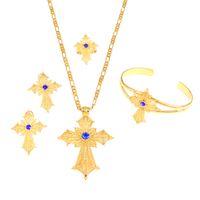 Set di gioielli con croce in pietra etiopica Collana con orecchini in oro colore Bangle Africa Dubai Set da sposa per matrimoni