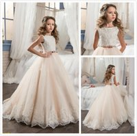2018 Vintage Flower Girl Dresses For Weddings Blush Pink Gir...