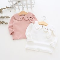 girl kids clothing long sleeved T shirt solid color pet pan ...