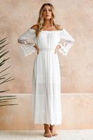 2018 Novas Mulheres Brancas Bohemian Vestidos Longo Chiffon Boat Neck Lace Inchado Mangas Compridas Cintura Fina Verão Vestido de Praia Tornozelo Comprimento Em Estoque