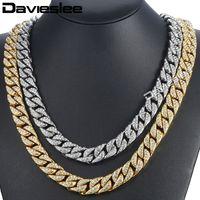 Davieslee14mm Collar de hombre Hiphop Iced Out Miami Curb Collar de oro cubano Pavimentado claro Rhinestones Womens Mens Chain DLGN432