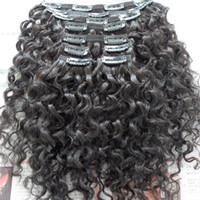 10-28 Inches Clip In Hair Extensions Brazilian Water Curly Virgin Human Hair 120G Clip In Extension Full Head Natural Color