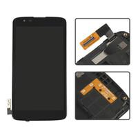 أسود لشاشة LG K7 LS665 LS675 MS330 شاشة عرض LCD تعمل باللمس مع الحافة الإطار محول الأرقام الجمعية أجزاء كاملة