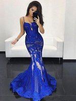 2018 Royal Blue Mermaid Evening Gowns Lace Applique Spaghett...