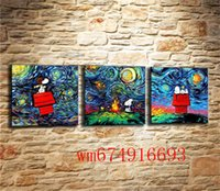 Snoopy Van Gogh, 3PC Pieces Home Decor HD Stampato Pittura di arte moderna su tela (senza cornice / con cornice)