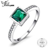 JewelryPalace Square 0.5ct Créé Vert Émeraude Bague Solitaire Anneaux En Argent Sterling 925 pour Femmes Fine Jewelry 2018 New Hot Y1892606