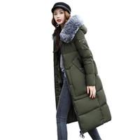 6a07c0f5f Chaqueta larga de invierno de las mujeres con cuello de piel grande con capucha  Parkas Epaulet verde militar abrigos de algodón de bolsillo con relleno ...