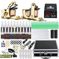 Complete tattoo kit 2 machines voeding wegwerp naalden tips inkten draagtas D3026