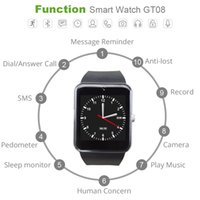 GT08 Bluetooth Smart Watch con ranura para tarjeta SIM y TF Health Watchs para Android Samsung e IOS Apple iPhone Smartphone Pulsera Smartwatch