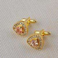 High grade de ouro Banhado A Prata Cristal Rhinestone Abotoaduras Camisa de casamento Cuff Links Clássico de Jóias de Luxo botões