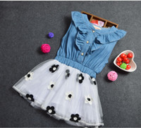 Girl Party princess Lace Dresses Baby Puff Boat Neck Denim F...