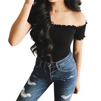 Summer Off Shoulder Womens Ruffles Blouse Sexy Ladies Crop T...