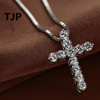 TJP New Fashion Kreuz Halskette Zubehör Ture 925 Sterling Silber Frauen Kristall CZ Anhänger Halskette Schmuck