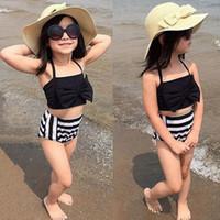 Sevimli Bebek Çocuk Kız Bikini Set Mayo Çizgili Üçgen Yay Yüzme Mayo İki Adet Mayo Gururlu Prenses Beachwear