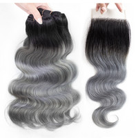 Ombre Grey Human Hair Bundles with Closure T 1B Grey Colored...