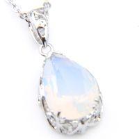 5 шт. / Лот Luckyshine 10 * 14 мм белые лунные подвески 925 стерлингового серебра шарм кристалл для женщин мода свадебные подвески ожерелье ювелирные изделия