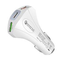 3-Port USB 3A QC3.0 Car Charger rápido carregamento Tipo-C para o iPhone Samsung USB adaptador Adaptador de alimentação