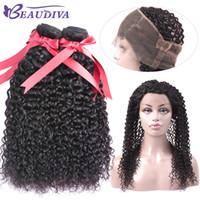 Beaudiva peruviana capelli ricci 360 chiusura frontale in pizzo con fasci capelli umani 2 pacchi con chiusura frontale 3 pz pieno