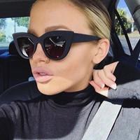 New Gato Olho Mulheres Óculos De Solted Cor Lente De Cor Vintage Vintage Sun Óculos Eyewear Blue Sunglasses Marca Designer