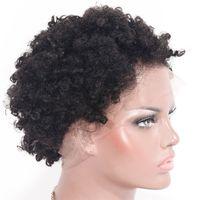 Spitzenfront-menschliche Haarperücken vorgeptet afro kinky curly brasilianische kurze remy perig gebleichte Knoten für schwarze Frauen