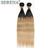 Honey Blonde # 1B 27 paquetes de cabello humano recto pelo brasileño 3/4 paquetes con cierre 3 / 4Pcs Lot Ombre Weave Bundle con cierre