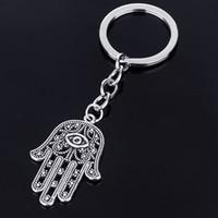 뜨거운 판매 키 체인 도매 소매 패션 이블 아이 슬리버 도금 된 열쇠 고리 Hamsa 파티마 핸드 합금 키 체인